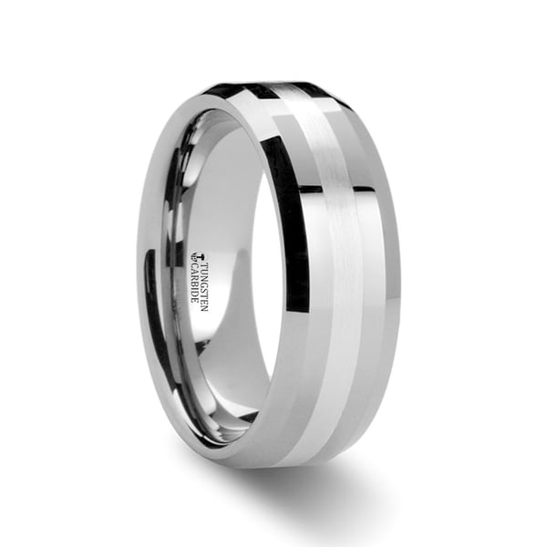 Vector Silver Inlaid Beveled Tungsten Ring