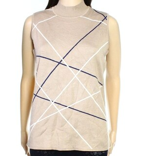 INC NEW Beige Womens Size Medium M Ribbed Knit Trim Mock Neck Sweater