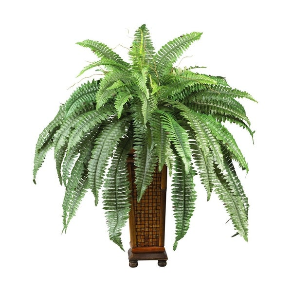 Nearly Natural Boston Fern with Decorative Wood Vase Silk Plant Green