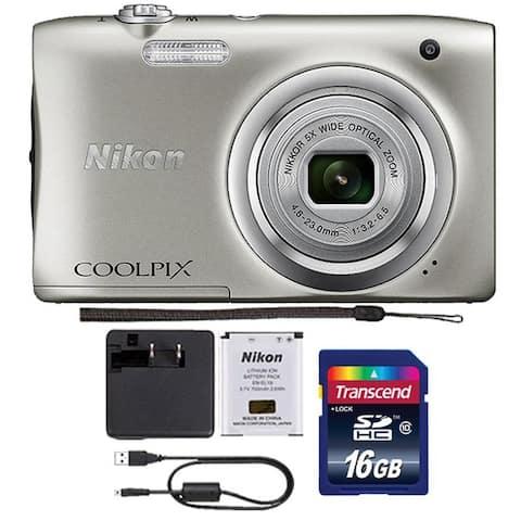 Nikon Coolpix A100 20.1 MP Compact Digital Camera Silver + 16GB Memory Card