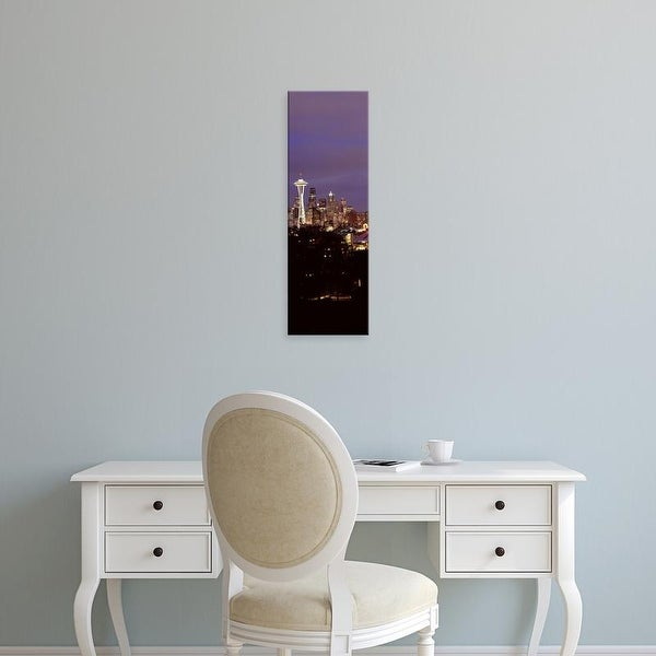 Easy Art Prints Panoramic Image 'Skyscrapers in a city lit up, Space Needle, Seattle, King, Washington' Canvas Art