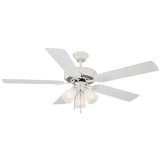 """Design House 153965 Transitional 52"""" White Ceiling Fan from the Millbridge Collection"""