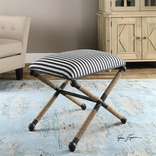 """24"""" Navy Blue and White Striped Rustic Iron w/ Rope Accent Small Cushioned Bench"""
