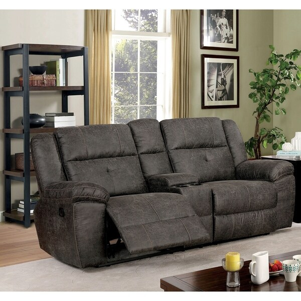 Furniture of America Feodosiya Brown Reclining Loveseat with Center Console. Opens flyout.