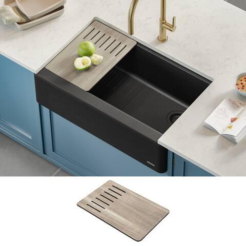 KRAUS Bellucci Workstation Farmhouse Granite Composite Kitchen Sink