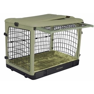 Deluxe Steel Dog Crate with Bolster Pad  - Large/Sage