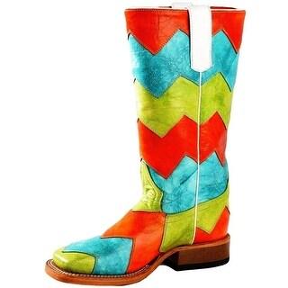Macie Bean Western Boots Girls Chevron Bright Orange Green Turq