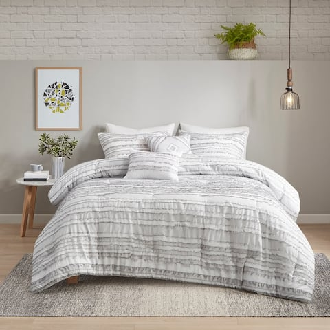 Peyton Grey 5 Piece Cotton Clip Jacquard Comforter Set by Urban Habitat