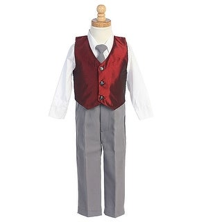 Little Boys Burgundy Vest Special Occasion Christmas 3pc Suit Set 6M-7