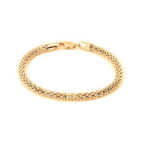 Pori Jewelers 18K Gold ptd Sterling Silver Popcorn Chain Bracelet