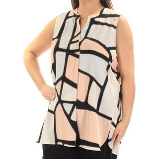 ALFANI $80 Womens New 1374 Black Printed Pleated Sleeveless Hi-Lo Top 16 B+B