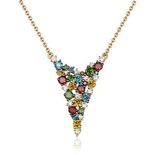 0.98Ct Round Cut G-H/SI1 Multi Color Diamond With White Diamond Designer Necklace