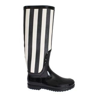 Dolce & Gabbana Black White Rubber Rain Boots - 36