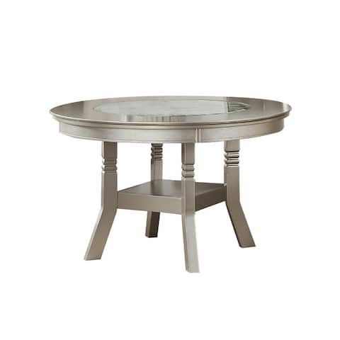 Dining Table with Glass Inserted Top in Antique Silver