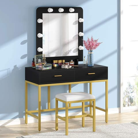 Vanity Table Set with Upholstered Stool, Makeup Desk with Lighted Mirror and 2 Drawers