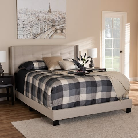 Lisette Modern and Contemporary Beige Fabric Upholstered Queen Size Bed