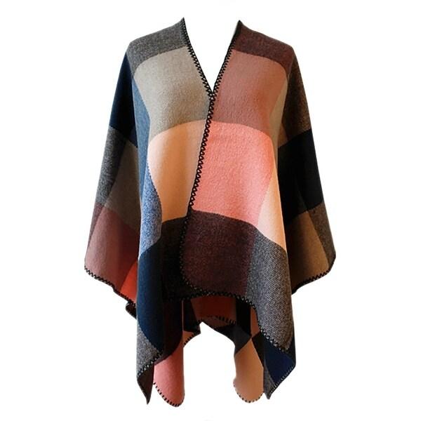 Shop QZUnique Women's Block Blanket Shawl Wrap Cardigan
