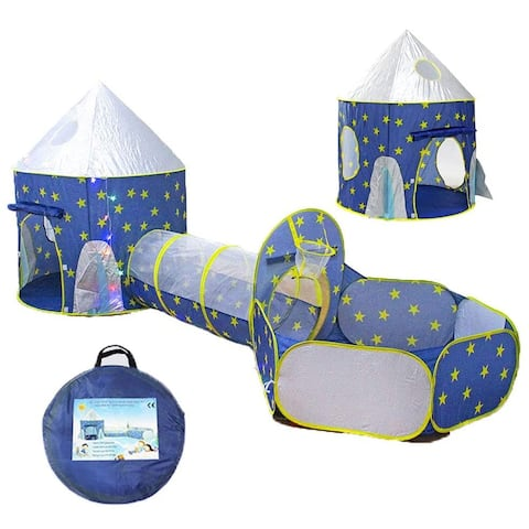 3 in 1 Rocket Ship Play Tent - with BOUNES Space Torch Projector