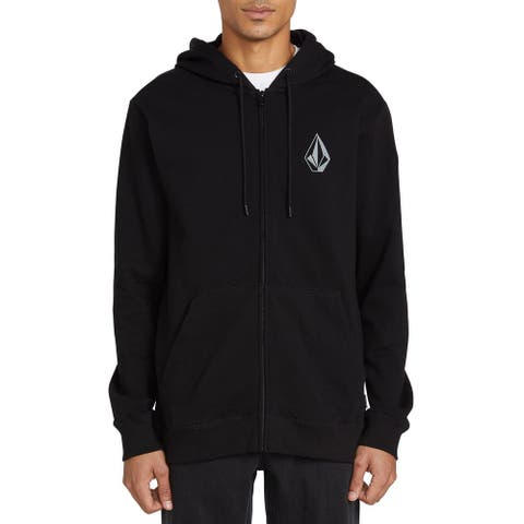 Volcom Mens Sweater Black Size Small S Hooded Stone Zip Front Rib Trim