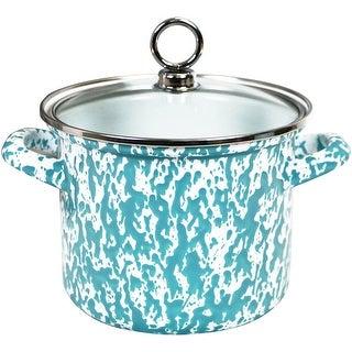 Calypso Basics by Reston Lloyd Vintage Marble Enamel on Steel Stockpot with Glass Lid, 1.5-Quart, Turquoise