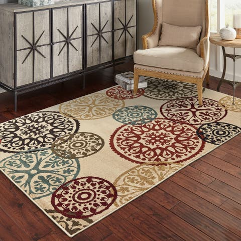 Copper Grove Rovinj Floating Medallion Beige and Multicolored Area Rug