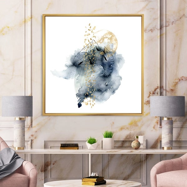 Designart 'Minimalistic Landscape of Mountains With Moon' Modern Framed Canvas Wall Art Print. Opens flyout.
