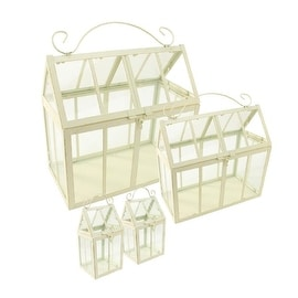"Set of 4 Gold and Antique-White Brushed Metal Nesting Outdoor Greenhouse Terrariums 8.25""-12"""