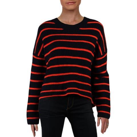 ALC Womens Portland Pullover Sweater Wool Striped - Navy Orange - S