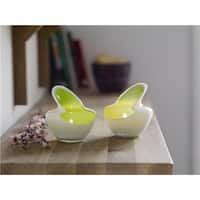 Lime and White 2 Piece Candle Holder