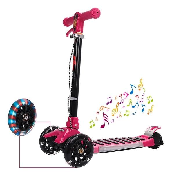 Goplus Folding Aluminum 3 LED Light Up Wheel Kids Kick Scooter Adjustable Height Music - ROSE