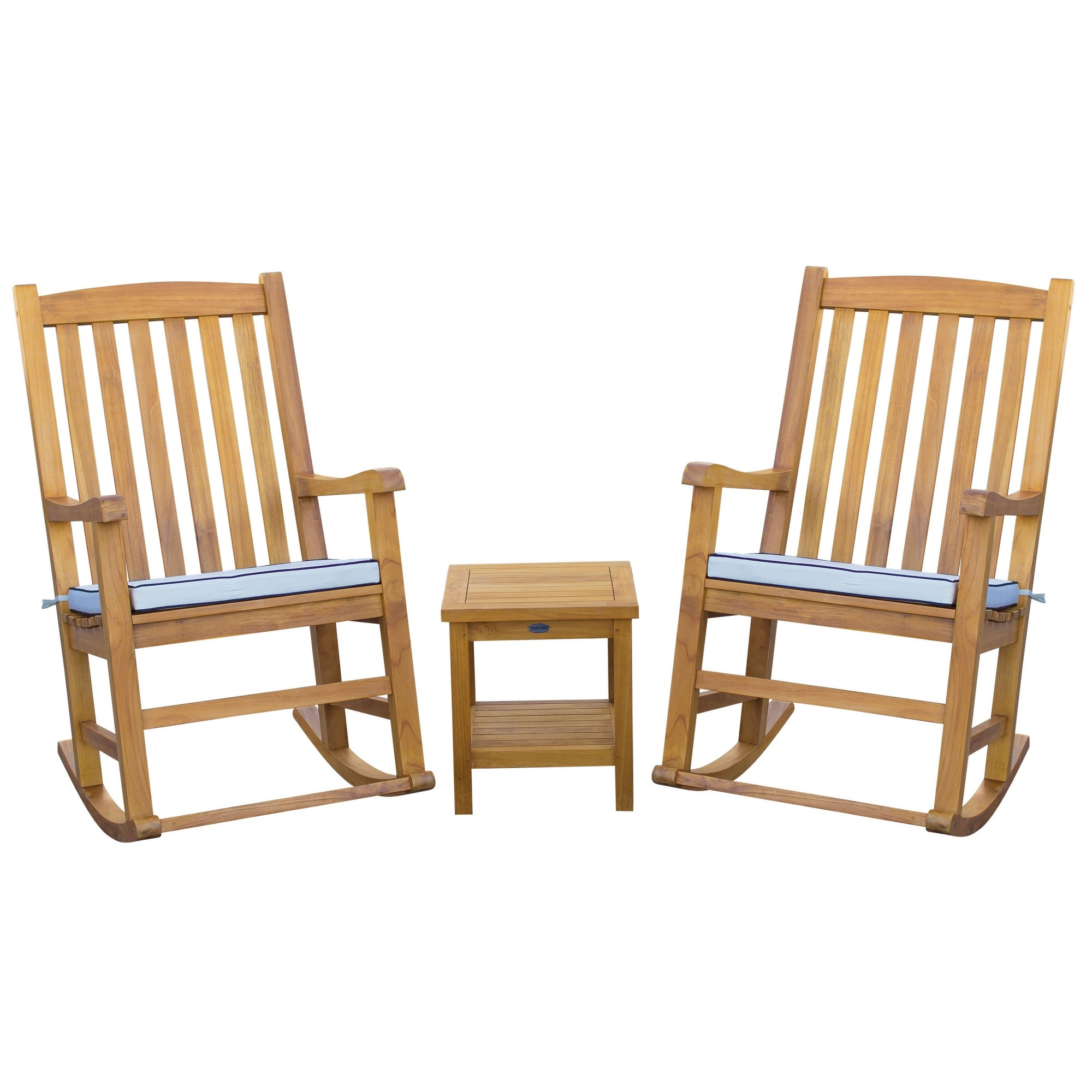 Picture of: Seven Seas Teak 3 Piece Teak Wood Oceanside Patio Lounge Set With 2 Rocking Chairs And Side Table Overstock 31904804