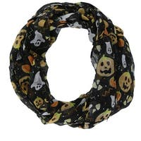 David & Young Women's Halloween Holiday Pumpkin and Ghost Infinity Loop Scarf - One size