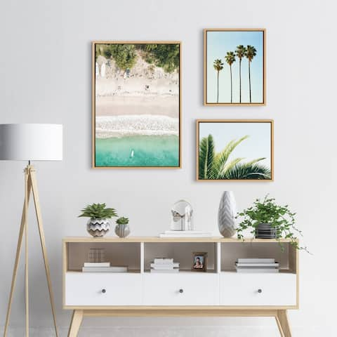Kate and Laurel Sylvie Tropical Beach Framed Canvas Set - Natural