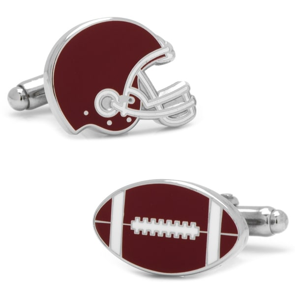 Varsity Football Maroon and White Cufflinks