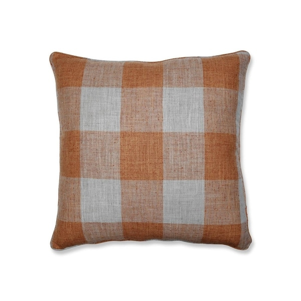 "25"" Orange Plaid Pattern Indoor Square Floor Pillow with Sewn Seam Closure"