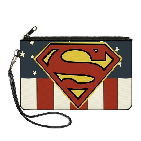 Superman Shield Americana Red White Blue Yellow Canvas Zipper Wallet