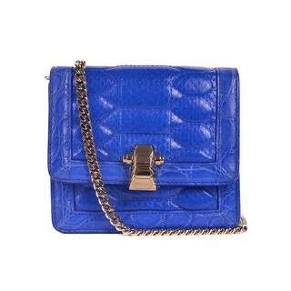 Roberto Cavalli Solid Blue Leather Snake Embossed Clutch Shoulder Bag