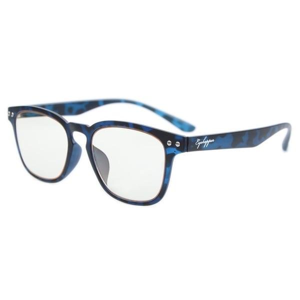 Eyekepper Vintage Flex Lightweight Plastic Frame Yellow Tinted Lenses Computer Glasses Blue Tortoise +1.5