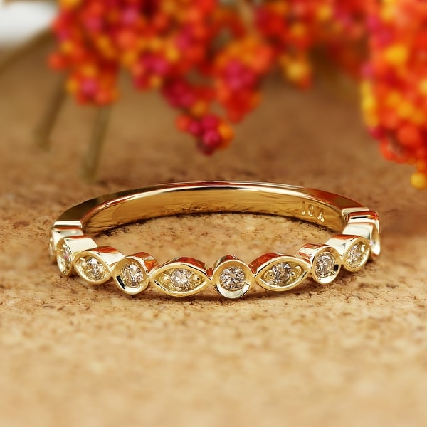 Auriya 10k Gold 1/8ctw Ultra-thin Vintage Stackable Diamond Wedding Band