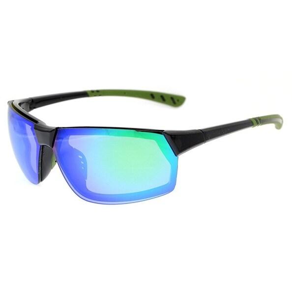 09977a62fe Eyekepper Polycarbonate Polarized TR90 Unbreakable Sport Sunglasses For Men  Women Hiking Black Frame Green Mirror