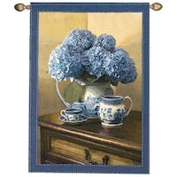 """English Blue Willow China and Floral Cotton Wall Art Hanging Tapestry 47"""" x 35"""""""