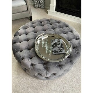Corvus Tufted Velvet Round Ottoman with Casters