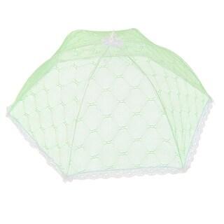 Household Metal Frame Nylon Umbrella Shaped Foldable Food Cover Light Green