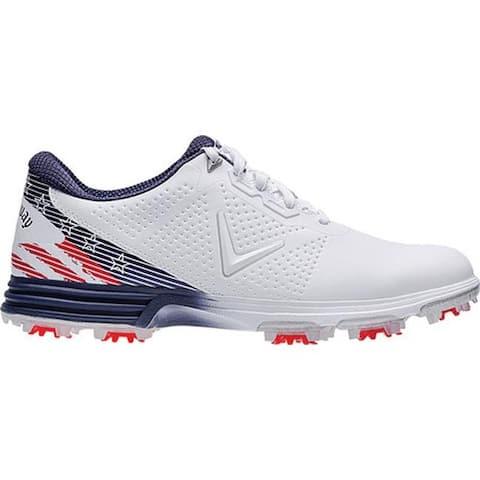 Callaway Men's Coronado Waterproof Golf Shoe Red/White/Blue Microfiber Leather