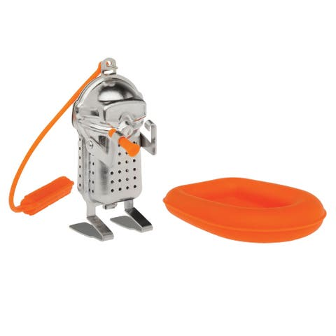 HIC Scuba Diver Stainless Steel / Silicone Loose Leaf Tea Infuser with Drip Tray - Silver