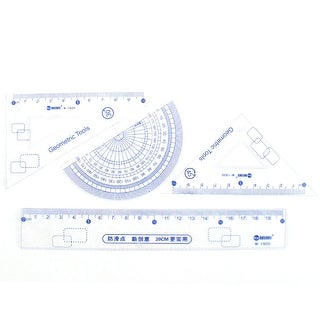 Plastic Metric Straight Ruler Protractor Combination Measuring Tool Set 4 in 1