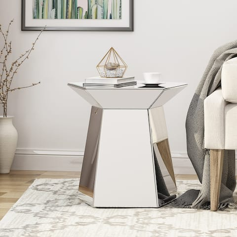 Castine Mirrored Pentagon Accent Table by Christopher Knight Home