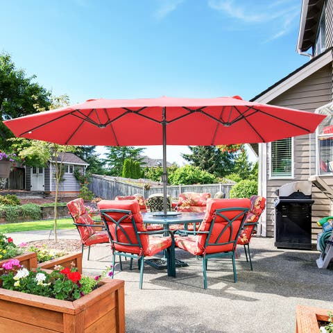 15 FT Double Sided Patio Umbrella with Base