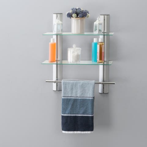 2 Tier Adjustable Glass Shelf with Aluminum Frame and Towel Bar