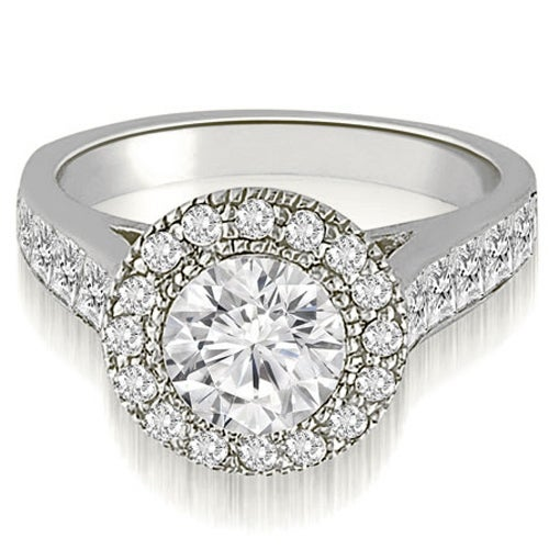 2.04 cttw. 14K White Gold Halo Round Cut Diamond Engagement Ring